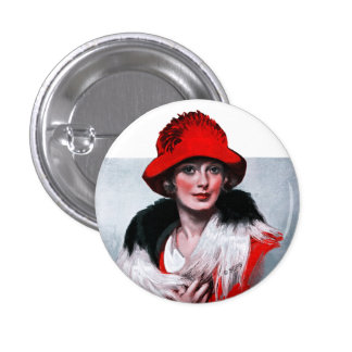 Woman in Red Hat 1 Inch Round Button