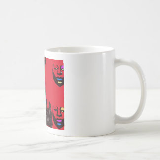 Woman in red mugs