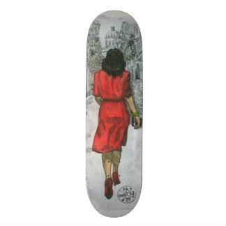 Woman in Red Skateboard Deck