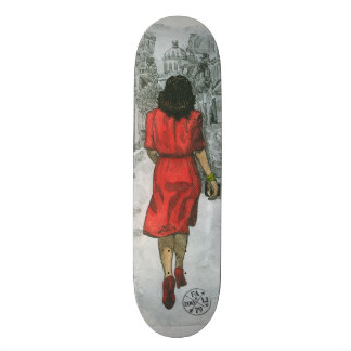 Woman in Red Skateboard Decks