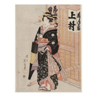 Woman in Snow by Keisai Eisen Postcard