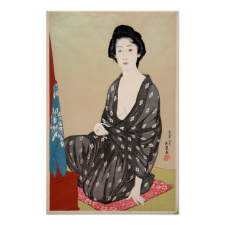 Woman in Summer Kimono Poster