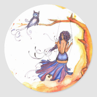 Woman In Swing w/ Owl Sticker