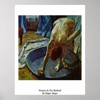 Woman In The Bathtub By Edgar Degas Poster