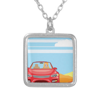 Woman in the car Vector Silver Plated Necklace