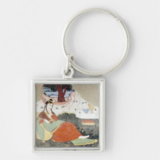 Woman in the Garden of Shah Abbas I Silver-Colored Square Keychain