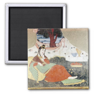 Woman in the Garden of Shah Abbas I Square Magnet