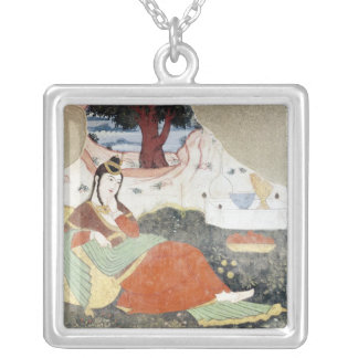 Woman in the Garden of Shah Abbas I Square Pendant Necklace