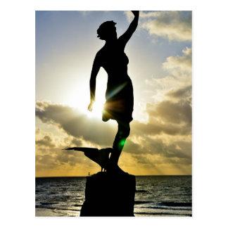 Woman in the sun postcard