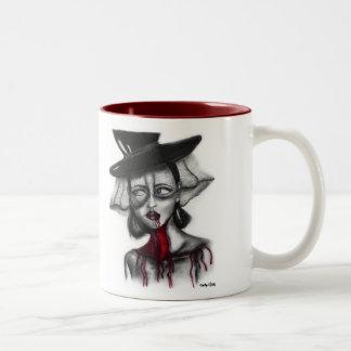 Woman In Veil Two-Tone Coffee Mug