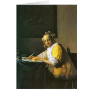 Woman in yellow by Johannes Vermeer Card