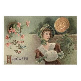 Woman Jack O Lantern Pumpkin Evergreen Horseshoe Art Photo