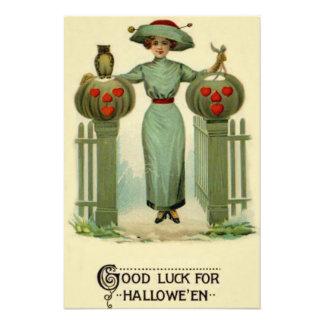 Woman Jack O Lantern Pumpkin Fence Owl Photo Print