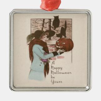 Woman Jack O' Lantern Pumpkin Owl Silver-Colored Square Ornament