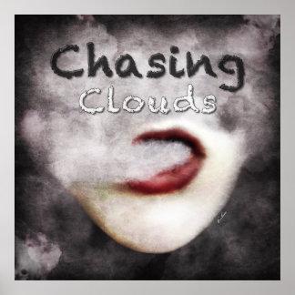 Woman Lips Clouds Vape Grunge Premium Poster
