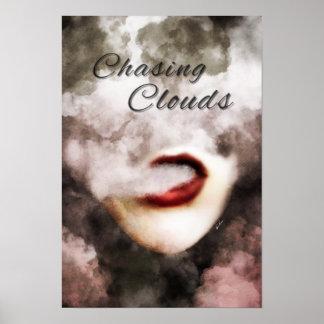 Woman Lips Clouds Vape Premium Poster