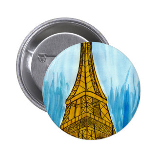 Woman Looking at Eiffel 2 Inch Round Button