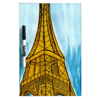 Woman Looking at Eiffel Dry Erase Whiteboard