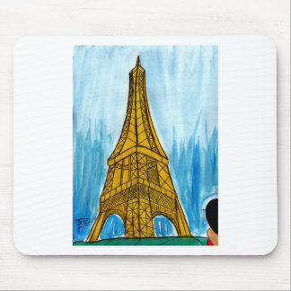 Woman Looking at Eiffel Mouse Pad