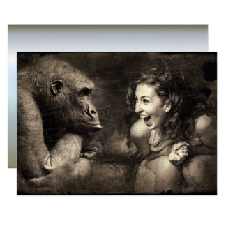 Woman Making Gorilla Laugh Card