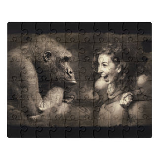 Woman Making Gorilla Laugh Jigsaw Puzzle