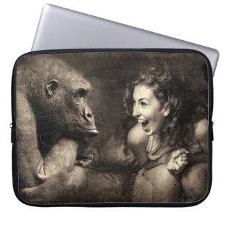 Woman Making Gorilla Laugh Laptop Sleeve