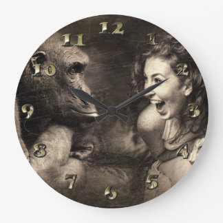Woman Making Gorilla Laugh Large Clock