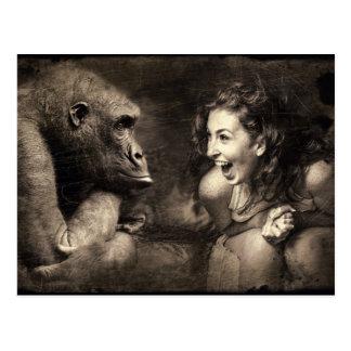 Woman Making Gorilla Laugh Postcard