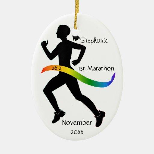 Woman Marathon Runner Ornament in Rainbow