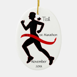 Woman Marathon Runner Ornament in Red