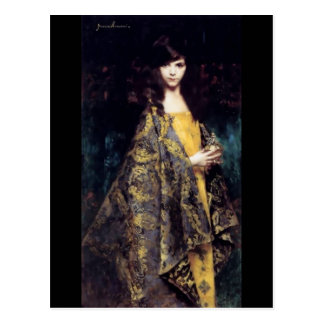Woman mystic gothic black gold fine art jaquard postcard