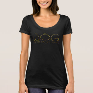 WOMAN OF GOD GOLD THIN LETTERS WITH DESCRIPTION.pn T-Shirt