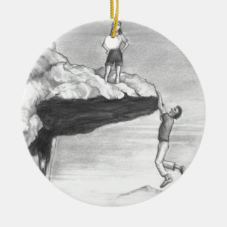 Woman on a Cliff with a Man Hanging from the Edge Ceramic Ornament