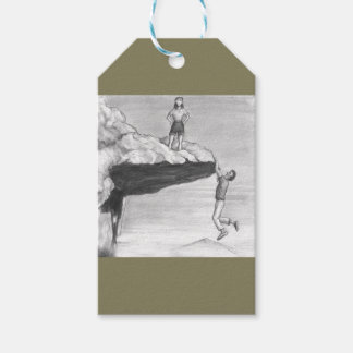 Woman on a Cliff with a Man Hanging from the Edge Gift Tags