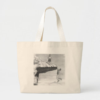 Woman on a Cliff with a Man Hanging from the Edge Large Tote Bag