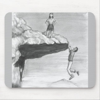 Woman on a Cliff with a Man Hanging from the Edge Mouse Pad