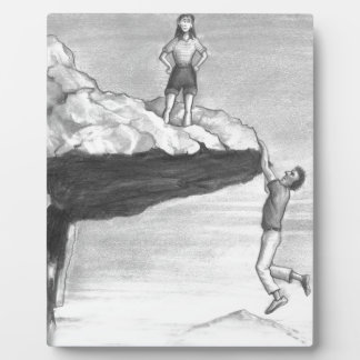 Woman on a Cliff with a Man Hanging from the Edge Plaque