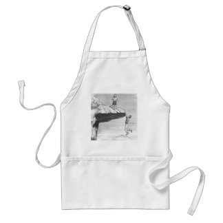 Woman on a Cliff with a Man Hanging from the Edge Standard Apron