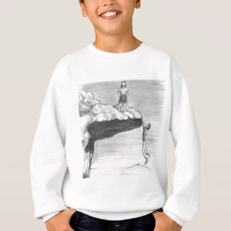 Woman on a Cliff with a Man Hanging from the Edge Sweatshirt