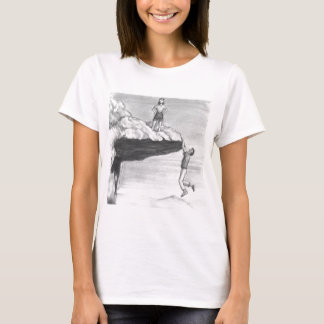 Woman on a Cliff with a Man Hanging from the Edge T-Shirt