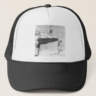 Woman on a Cliff with a Man Hanging from the Edge Trucker Hat