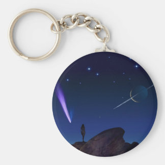 Woman on a Moon Basic Round Button Keychain