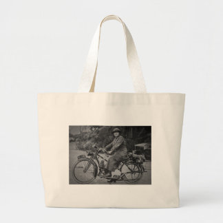 Woman on a Motorcycle Early 1900s Vintage Large Tote Bag