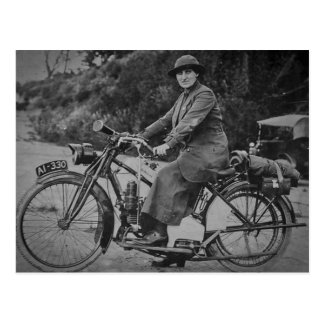 Woman on a Motorcycle Early 1900s Vintage Postcard