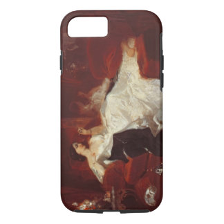Woman on a red sofa iPhone 7 case