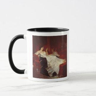 Woman on a red sofa mug