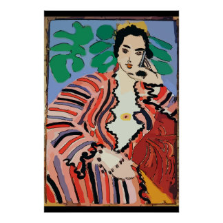 Woman on Cell Phone Abstract, Matisse Style Poster
