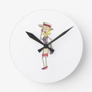 WOMAN ON CELLPHONE ROUND CLOCK