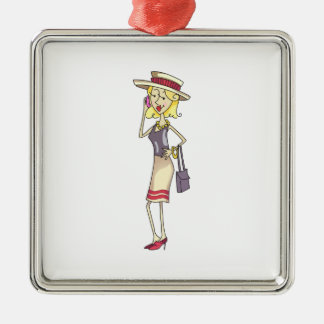 WOMAN ON CELLPHONE CHRISTMAS ORNAMENTS