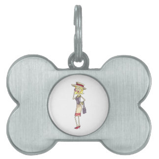 WOMAN ON CELLPHONE PET TAG
